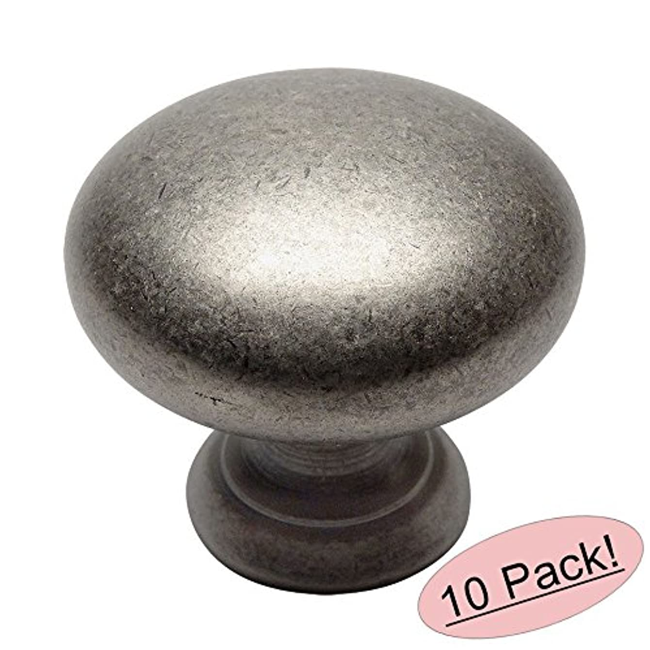 10 Pack - Cosmas 4950WN Weathered Nickel Cabinet Hardware Round Mushroom Knob - 1-1/4