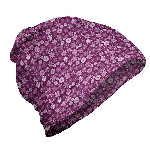 ABAKUHAUS Violet Bonnet Unisexe, Petit Printemps Floral Dessin, Randonnée en Extérieur, Magenta foncé bébé Rose