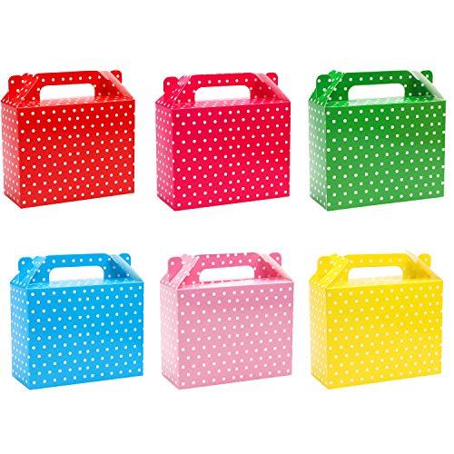 Belle Vous Caja de Dulces con Lunares para Fiestas (Pack de 24) 11 x 14 x 6 cm Cajas Chuches Colores del Arcoíris Lisas - Cajas de Cumpleaños de Niños, Alimentos, Baby Shower y Bodas