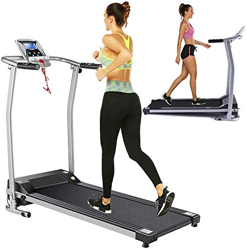 Folding Electric Treadmill Treadmills for Home with LCD Monitor,Pulse Grip and Safe Key Portable Walking Jogging Exercise Fitness Running Machine for Family & Office Workout Easy Assembly (Silver)