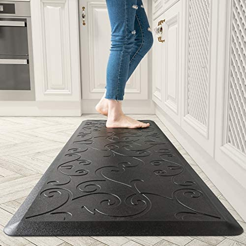 Floral Kitchen Floor Mats Cushioned Anti Fatigue for House 1 2 Inch Thick Non Slip Kitchen Rugs product image