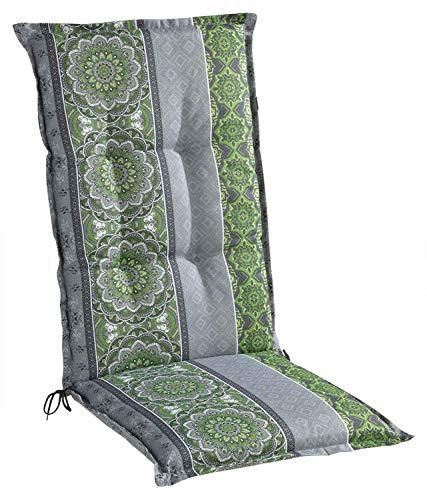 Sesselauflage Sitzpolster Gartenstuhlauflage für Hochlehner | 50 cm x 120 cm | Grün | Mandalamotiv | Baumwolle | Polyester