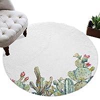 カーペット 円形 ラグマット サボテン 熱帯植物 じゅうたん シャギーラグ 絨毯 ふわふわ マイクロファイバー 防音 滑り止め付 床暖房 ホットカーペット対応 おしゃれ 直径 152cm