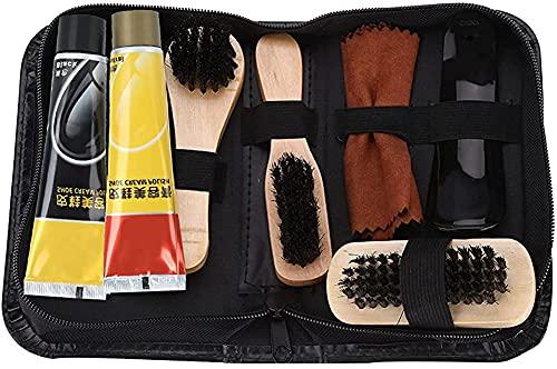 RosieLily 8 Stks Schoen Shine Care Kit Zwart En Neutraal Poolse Borstels Voor Laarzen Schoenen Sneakers