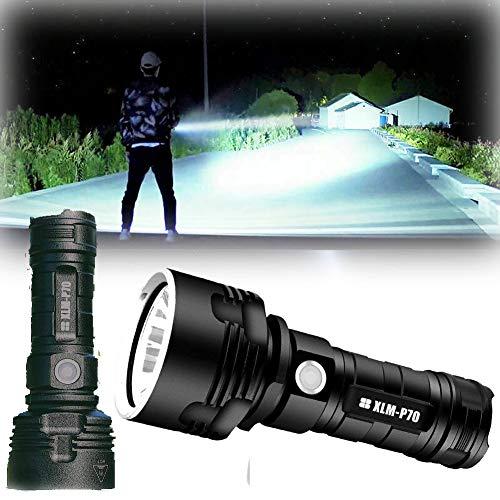 30000-100000 Lumen High Power LED Waterproof Flashlight Lamp Ultra Bright (50W XLM-P70, Double lithium battery)