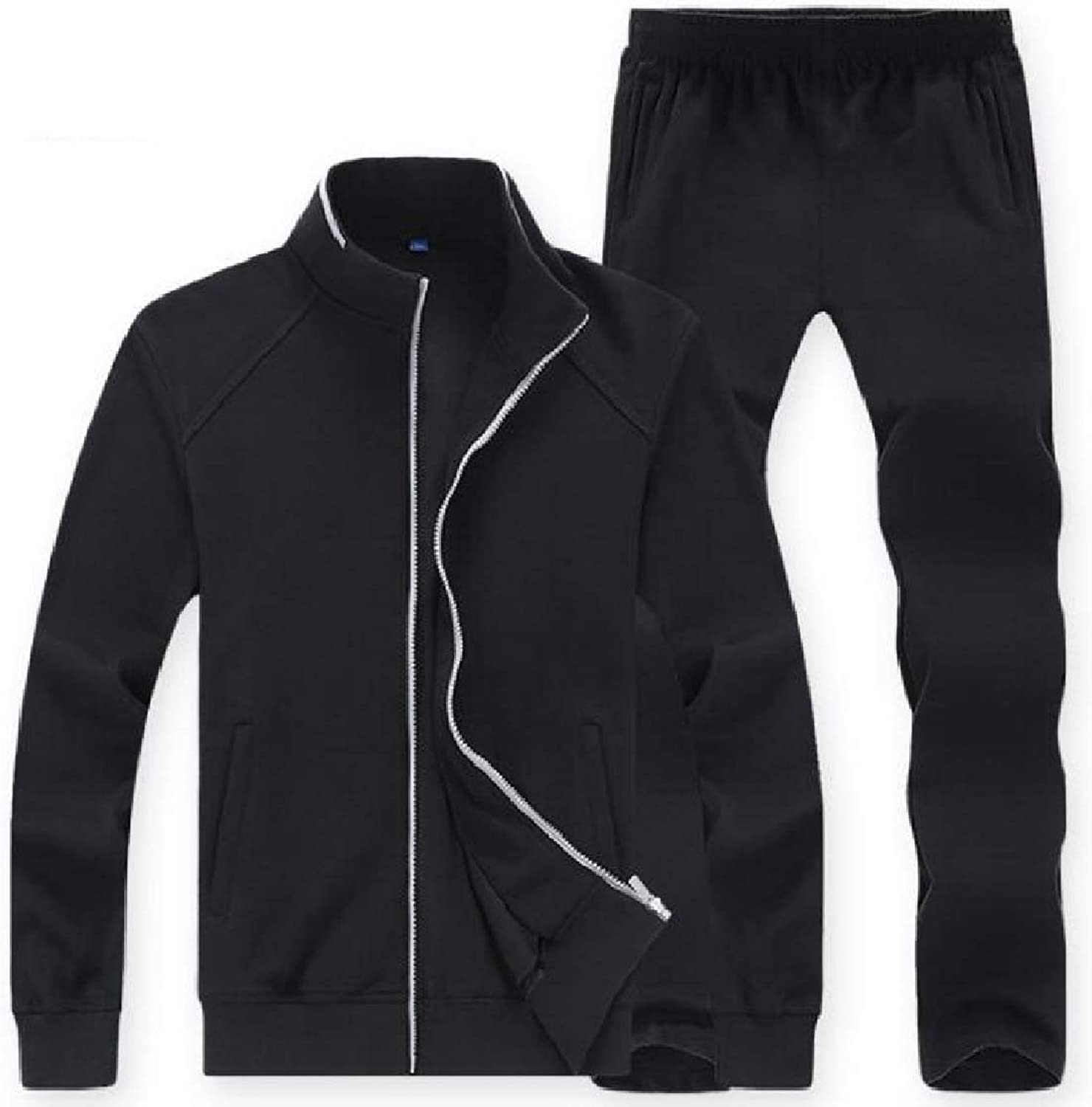 Freely Mens Oversize Stand Up Collar Casual with Zips 2 Piece Sweatshirts Coat Pants