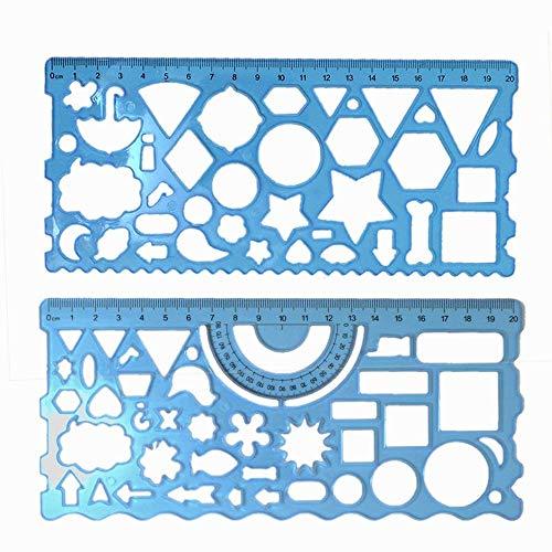Kunststoff-Schablonen-Set für Kinder, geometrische Lineale, Dreieck, Kreis, Zeichnen, Lineal für Studenten, Schule, Bürobedarf, 2 Stück