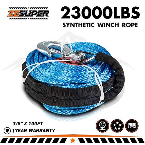 "ZESUPER SK75 3/8"" x 100ft Dyneema Synthetic Winch Rope with Hook Car Tow Recovery Cable Synthetic Winch Rope Winch Line Cable 23000 LBs for 9500lb-13500lb Winch (Blue)"