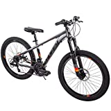 """TOUGH Handsome Fast Awesome Speed And Balance All Terrain Easy Care And Clean Reliable Huffy 24"""" Scout Boys' DARK GRAY Hardtail 21-Speed Mountain Bike with Disc Brakes - Ready For Anytime Anywhere Act"""
