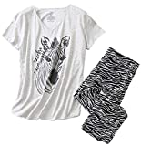 Women's Pajama Set - Cotton-Blend Short-Sleeve Loose Top with Matching Capri Bottoms SY296-Zebra-3XL