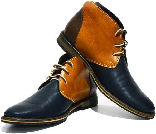 Modello Bergamo - Cuero Italiano Hecho A Mano Hombre Piel Vistoso Chukka botas Botines - Cuero Cuero Suave - Encaje