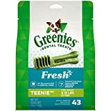 GREENIES TEENIE Natural Dog Dental Care Chews Oral Health Dog Treats Fresh Flavor, 12 oz. Pack (43 Treats)