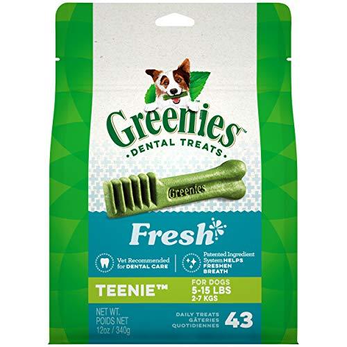 GREENIES TEENIE Natural Dog Dental Care Chews Oral Health Dog Treats Fresh Flavor, 12 oz. Pack (43 Treats)