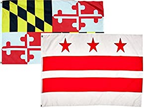 ALBATROS 2 ft x 3 ft 2x3 State Maryland with Washington DC 2 Flags Flag for Home and Parades, Official Party, All Weather Indoors Outdoors