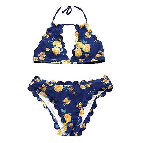 Dark Blue Halter Bikini Set Women Cutout Backless Crop Top Two Pieces Swimwear Suits Swimsuits,Ab30337M,L
