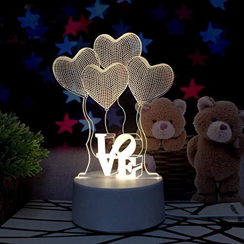 Dreidimensionales Nachtlicht 3D-Plug-in Schlafzimmer Nachttisch LED Lampe Raumdekoration kreative Schlafsaal Traumschaukel Weihnachtsgeschenk-Konventionell_Milchiges Ballonherz