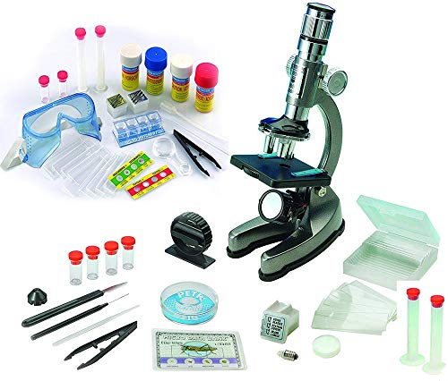 EDU-TOYS Mikroskop Zoom 100x – 900x im Handkoffer Lernmikroskop mit extra Experimentierzubehörpaket und Schutzbrille