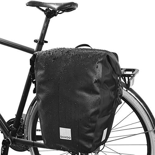 SAHOO wasserdichte PVC Fahrradtasche hinten 20L mit Schultergurt - Universalhalter Gepäckträgertasche zum Umhängen - Satteltasche Fahrrad außen als Seitentasche - Reflektierend Fahrrad Tasche