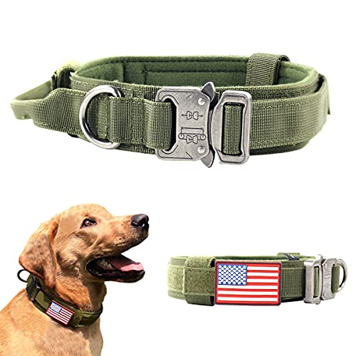 VOLJEE Tactical Dog Collar with USA American Flag-Nylon Adjustable K9 Military Training Dog Collar with Handle Heavy Duty Metal Buckle for Medium Large Dogs, 1.5' Width (Green, M)