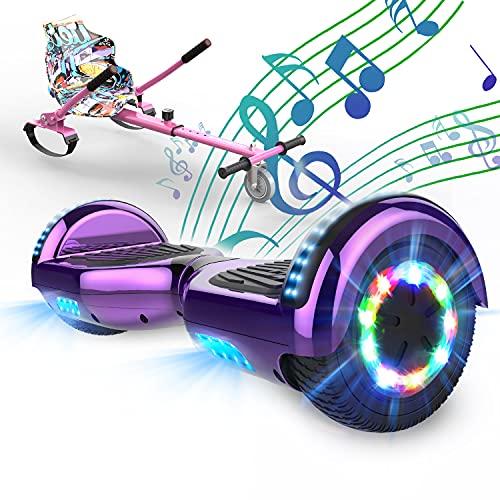 SOUTHERN WOLF Hoverboard con Silla, Hoverboard niños con Altavoz Bluetooth de 6,5 Pulgadas, Rueda con luz LED, con Asiento de Kart para niños y Adolescentes,Regalos para niños