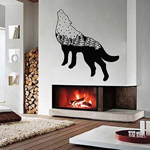 Arte Lobo pegatinas de pared de animales decoración del hogar Lobo pegatinas de sala de estar Mural pegatinas de vinilo Lobo salvaje pegatinas de pared A4 57x60cm
