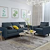 Mecor 2 Piece Living Room Sofa Set Modern Fabric Couch Furniture Upholstered 3 Seat Sofa Couch and Single Sofa Chair for Living Room, Bedroom, Office, Apartment, Dorm and Small Space