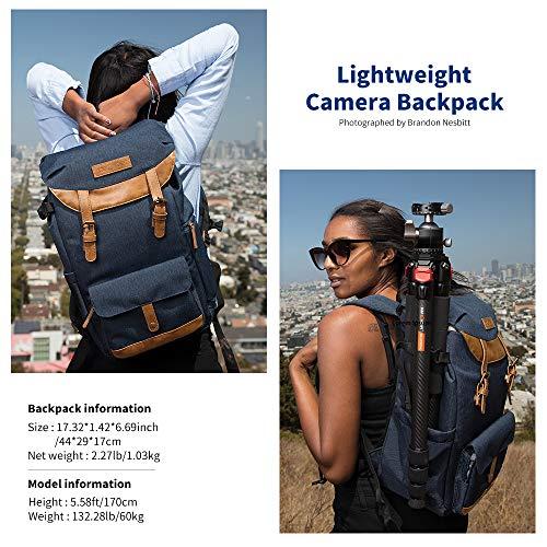 K&F Concept Kamerarucksack Rucksack Kamera Fotorucksack fürCanon Nikon Sony Fujifilm OlympusDSLR SLR Spiegelreflexkamera mit Regenschutzhülle 21 Liter Blau