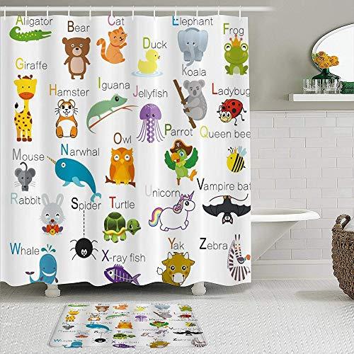 Stoff Duschvorhang & Matten Set,ABC Learning Alphabet Kinder Pädagogisch,Wasserabweisende Badvorhänge mit 12 Haken,rutschfeste Teppiche