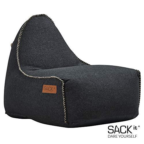 SACKit - RETROit Cobana - Outdoor/Indoor Sitzsack & Sessel mit Lehne - Perfekt für die Lounge, draußen im Garten oder Balkon - Kombinierbar mit einem Hocker - Dänisches Design - Schwarz