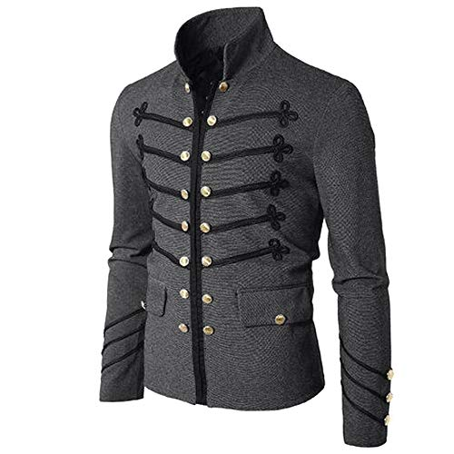 NPRADLA 2018 Jacke Herren Slim Fit Mantel Gothic Sticken Knopf Mantel Uniform Kostüm Party Oberbekleidung(L/38,Grau)