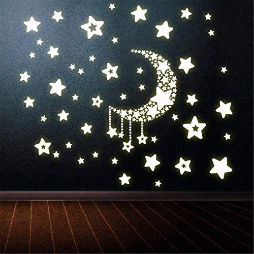 Ruluti Estrella De La Luna De Fluorescencia Noctilucentes Resplandor De La Noche En La Oscuridad Luminosa Vinilo Extraíble Nursery Niños Dormitorio del Niño Pegatinas De Pared
