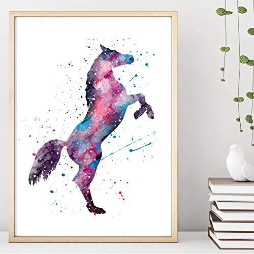 Kunstdruck Din A4 ungerahmt Pferd Aquarell Pferde Pferdeliebe pink lila blau modern, Druck, Poster, Geschenk, Wandbild, Wanddekoration