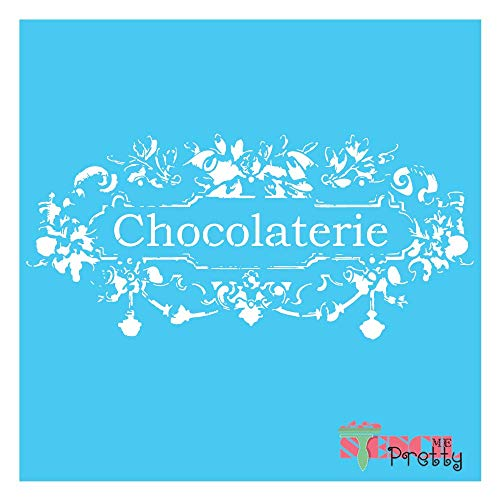 """Chic French Chocolate Furniture Stencil - Chocolaterie DIY Sign Best Vinyl Large Stencils for Painting on Wood, Canvas, Wall, etc.-L (20"""" x 9"""")  Brilliant Blue Color Material"""