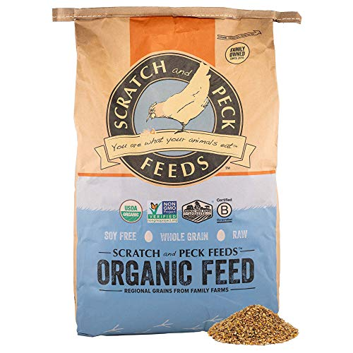 Scratch and Peck Feeds Organic Layer Feed with Corn for Chickens and Ducks - 25-lbs - Non-GMO Project Verified, Always Soy Free - 1004-25
