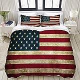 ZELXXXDA Bettwäsche-Set,Amerikanische USA-Flaggen-Weinlese der Vereinigten Staaten,1 Bettbezug 240x260 + 2 Kopfkissenbezug