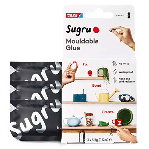 Sugru I000945 Moldable MultiPurpose Glue for Creative Fixing and Making Black 3 Piece