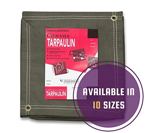 Olive Drab Canvas Tarpaulin (12' x 24')