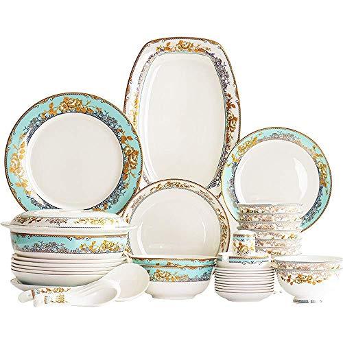 GAXQFEI Juegos de vajilla de porcelana, juegos de platos de porcelana china, cuencos/platos de postre/platos de cena/ollas/platillos, primer servicio para 10, oro nórdico/adornos de patrón