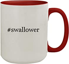 #swallower - 15oz Hashtag Colored Inner & Handle Ceramic Coffee Mug, Red