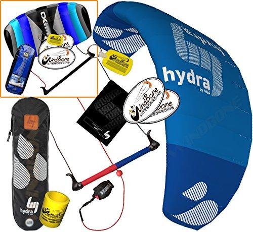 HQ HQ4 Hydra 420 Kiteboarding CX Trainer Kite Bundle : (5 Items) Includes 2ND Control Bar Kite : CX 1.5M Foil Control Bar Trainer Kite + WindBone Kiteboarding Lifestyle Decals +Key Chain +Koozy Cooler