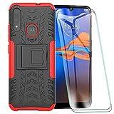 FANFO® Custodia per Motorola Moto E6 Plus, 2 in 1 Resistente Hybrid Dual Layer Armatura Defender PC + TPU Cover con Cavalletto Integrato, Rosso + Pack di 2 Protezioni Schermo