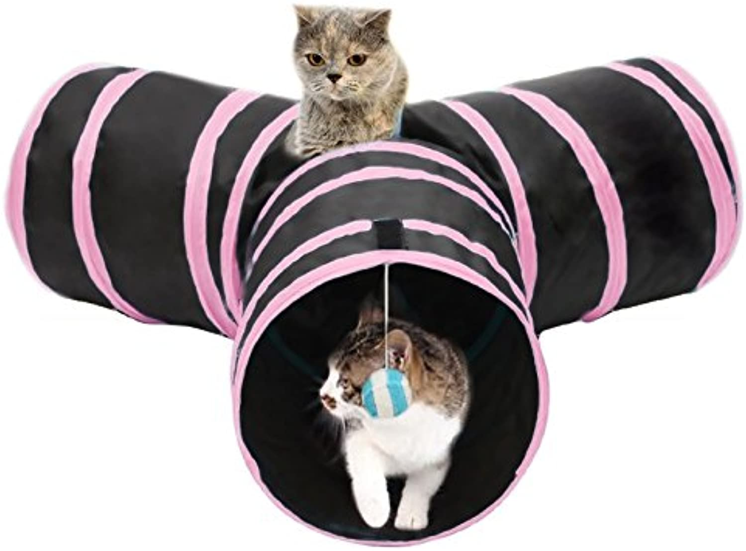 Foldable 3 Exits Exercising Cat Tunnel with A Hanging Ball . ( color   Pink )