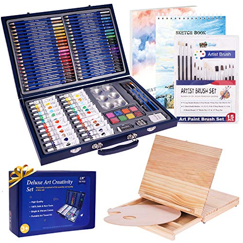 101 Piece Deluxe Art Set with 2 Drawing Pads,1 Wooden Drawing Easel with Drawer, Art Supplies, Painting & Drawing Set That Contains All The Additional Supplies You Need to Get Started,Teens and Adults