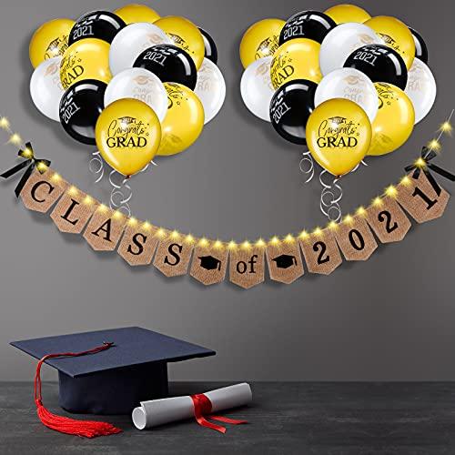Pancarta de Graduación de Arpillera de Class Of 2021 Decoraciones Guirnaldas de Graduación Rústicas Vintage con 30 LED Luces de Cadena de 9,8 Feet 30 Globos de Látex de Graduación