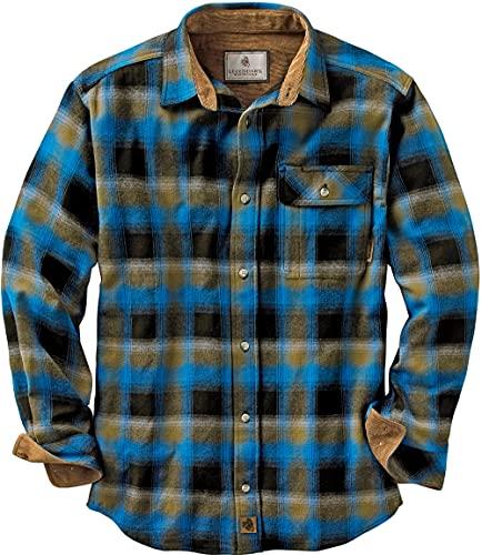Legendary Whitetails Men's Standard Buck Camp Flannel Shirt, Cobalt Plaid, Large