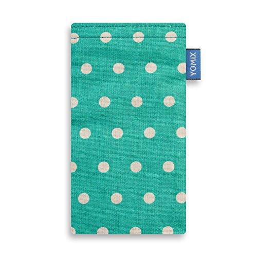 YOMIX Handytasche Gunilla Mint für ZTE Blade C341 aus beschichteter Baumwolle mit genialer Bildschirm-Reinigungsfunktion durch Microfaserinnenfutter