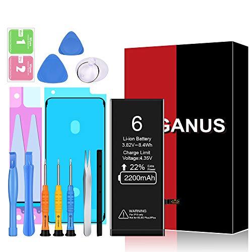 Heganus Akku für iPhone 6 2200mAh, Hohe Kapazität Akku Reparaturset mit Anleitung & Ersatz Klebestreifen Set, Kompatibel mit iPhone 6, Garantie 2 Jahr 100%…