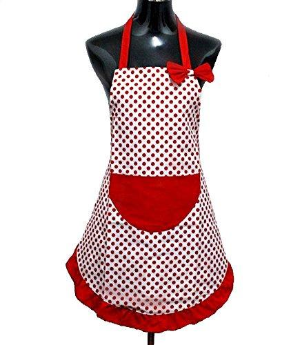 StillCool Grembiule Moda Bella Principessa Grembiuli di Cucina, Grembiule da Cuoco Femminile, dalla Moglie e dalla Madre, con Il Sacchetto Grande Regalo (Rosso-1)