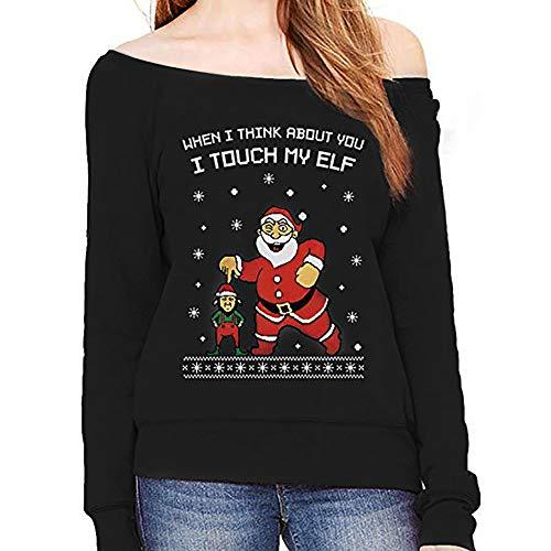 DEELIN Noël Femmes Santa Claus Imprimé À Manches Longues Col Oblique Hors Épaule Casual Sweat Pullover Tops Noir Rouge Couleur