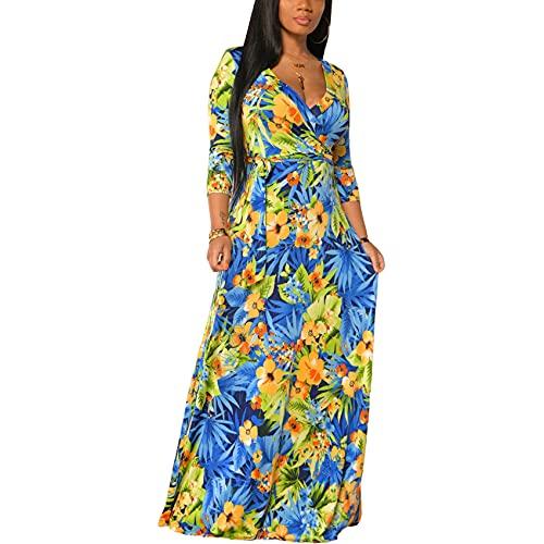 Vestido De Gran TamañO con Cuello En V Estampado De Mujer De Moda De Primavera Y Verano